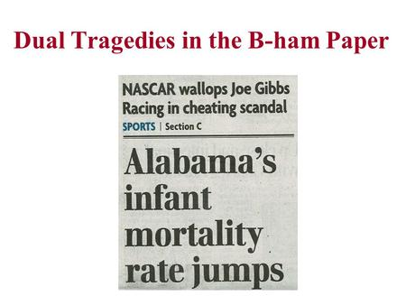 Dual Tragedies in the B-ham Paper. Module 2 Simple Descriptive Statistics and Univariate Displays of Data A Tale of Three Cities George Howard, DrPH.