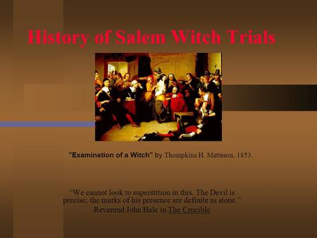 an introduction to the history of the mccarthy era and the salem witch trials The salem witch trials and mccarthyism: parallels in public hysteria introductory classroom activity (30 minutes) have students sit in small groups of about 4-5 people each group should have someone to record its discussion and someone who will report out orally for the group.