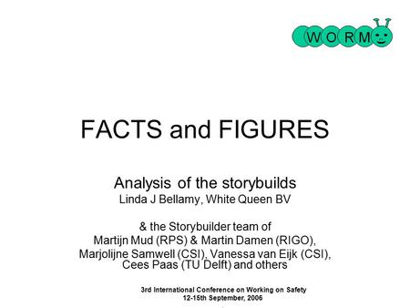 3rd International Conference on Working on Safety 12-15th September, 2006 1 1 FACTS and FIGURES Analysis of the storybuilds Linda J Bellamy, White Queen.