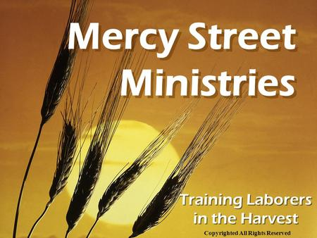 Training Laborers in the Harvest Mercy Street Ministries Copyrighted All Rights Reserved.