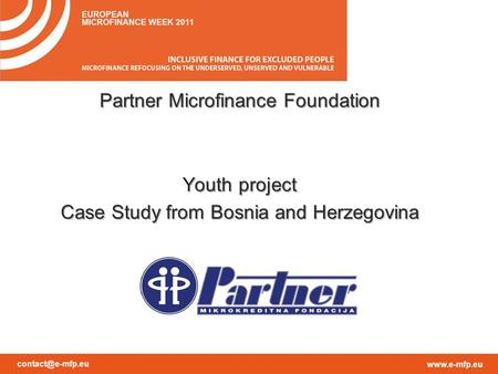 Partner Microfinance Foundation Youth project Case Study from Bosnia and Herzegovina.