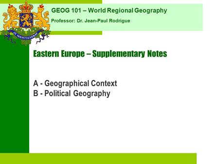 Eastern Europe – Supplementary Notes