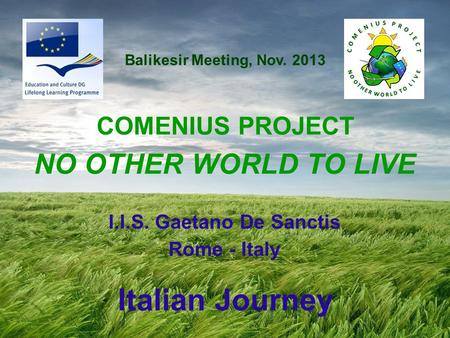 I.I.S. Gaetano De Sanctis Rome - Italy COMENIUS PROJECT NO OTHER WORLD TO LIVE Italian Journey Balikesir Meeting, Nov. 2013.