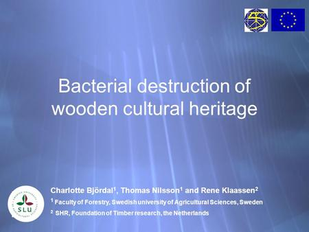 Bacterial destruction of wooden cultural heritage Charlotte Björdal 1, Thomas Nilsson 1 and Rene Klaassen 2 1 Faculty of Forestry, Swedish university of.