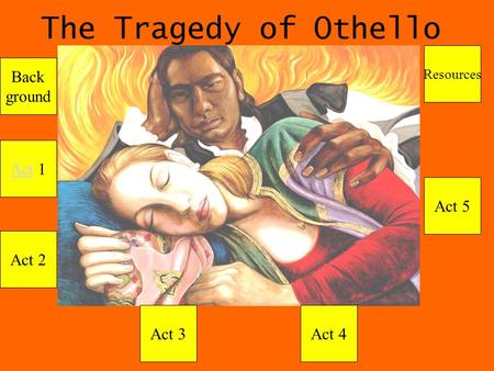 The Tragedy of Othello Act 1 Act 2 Act 3Act 4 Act 5 Resources Back ground.
