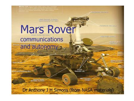 Mars Rover communications and autonomy Dr Anthony J H Simons (from NASA materials)