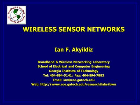 1. INTRODUCTION SENSOR <strong>NETWORKS</strong> ARCHITECTURE
