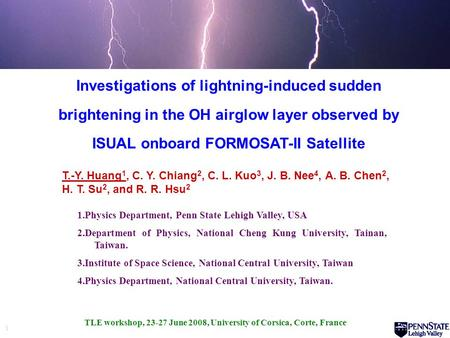 1 Investigations of lightning-induced sudden brightening in the OH airglow layer observed by ISUAL onboard FORMOSAT-II Satellite 1.Physics Department,