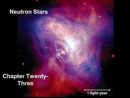 Neutron Stars Chapter Twenty- Three. Guiding Questions 1.What led scientists to the idea of a neutron star? 2.What are pulsars, and how were they discovered?