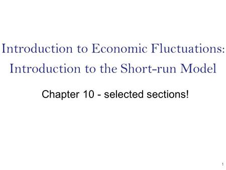 Introduction to Economic Fluctuations: