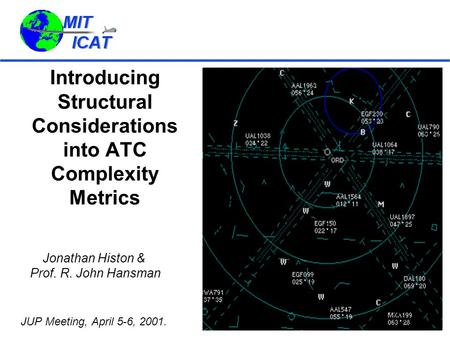 Introducing Structural Considerations into ATC Complexity Metrics Jonathan Histon & Prof. R. John Hansman JUP Meeting, April 5-6, 2001.