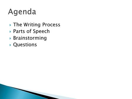 Agenda The Writing Process Parts of Speech Brainstorming Questions.