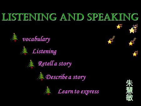 Listening and speaking vocabulary Listening Retell a story Describe a story Learn to express.