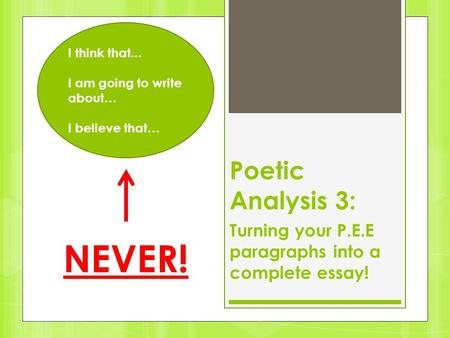 Poetic Analysis 3: Turning your P.E.E paragraphs into a complete essay! I think that... I am going to write about… I believe that… NEVER!