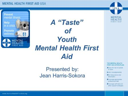 "A ""Taste"" of Youth Mental Health First Aid Presented by: Jean Harris-Sokora."