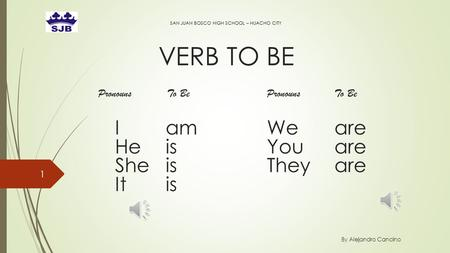 VERB TO BE SAN JUAN BOSCO HIGH SCHOOL – HUACHO CITY By Alejandro Cancino 1 Pronouns To BePronounsTo Be Iam Weare HeisYouare SheisTheyare Itis.