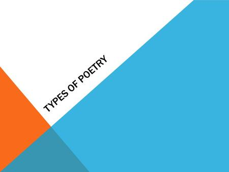TYPES OF POETRY. NARRATIVE POEMS A Narrative Poem combines elements of fiction and poetry to tell a story Like short stories, they usually include characters,