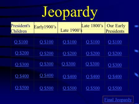 Jeopardy President's Children Early1900's Late 1900's Late 1800's Our Early Presidents Q $100 Q $200 Q $300 Q $400 Q $500 Q $100 Q $200 Q $300 Q $400.