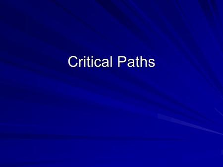 Critical Paths. Considering Critical Paths When there are only a few tasks to complete in a project it is relatively easy to find the shortest time to.