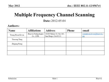 Doc.: IEEE 802.11-12/0567r1 Submission May 2012 Huawei Slide 1 Multiple Frequency Channel Scanning Date: 2012-05-04 Authors: NameAffiliationsAddressPhoneemail.