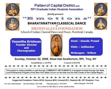 Jointly present Sunday, October 22, 2006, West Hall Auditorium, RPI, Troy, NY Suggested Donations: Patron-$100, Sponsor-$50, General-$12, Students-$5,