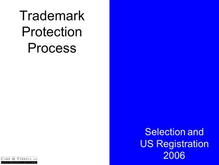 Trademark Protection Process Selection and US Registration 2006.
