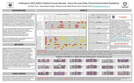 Antibiogram 2002-2009 in Washoe County Nevada – Know the Local Data, Prevent Antimicrobial Resistance Lei Chen, Ph.D., Senior Epidemiologist, Washoe County.