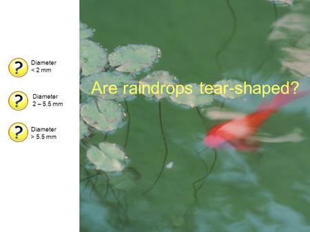 Are raindrops tear-shaped? Diameter < 2 mm Diameter 2 – 5.5 mm Diameter > 5.5 mm.