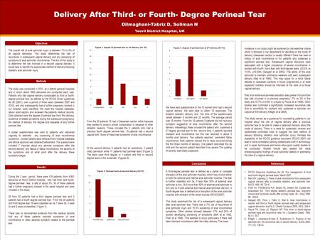 TEMPLATE DESIGN © 2008 www.PosterPresentations.com Delivery After Third- or Fourth- Degree Perineal Tear Dilmaghani-Tabriz D, Soliman N Yeovil District.