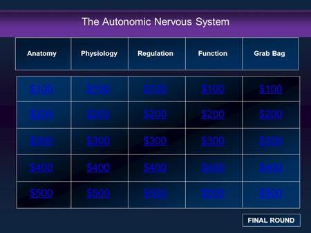 The Autonomic Nervous System $100 $200 $300 $400 $500 $100$100$100 $200 $300 $400 $500 Anatomy FINAL ROUND PhysiologyRegulation Function Grab Bag.
