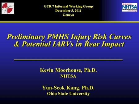 GTR 7 Informal Working Group December 5, 2011 Geneva Preliminary PMHS Injury Risk Curves & Potential IARVs in Rear Impact ____________________________.