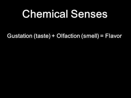 Chemical Senses Gustation (taste)+ Olfaction (smell) = Flavor.