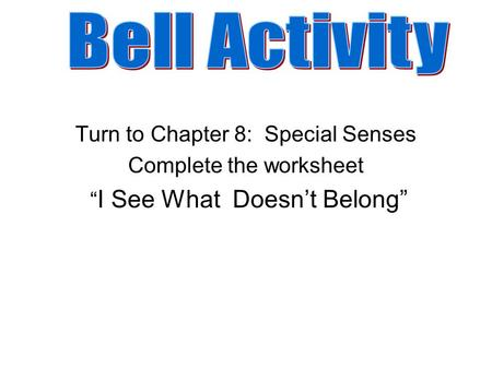 "Turn to Chapter 8: Special Senses Complete the worksheet "" I See What Doesn't Belong"""