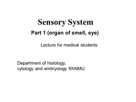 Sensory System Part 1 (organ of smell, eye)