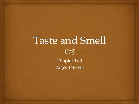 Chapter 14.1 Pages 446-448. 2 TASTE AND SMELL TASTE AND SMELLTASTE AND SMELLTASTE AND SMELL  Taste receptors  Found in diff. locations in diff. species.