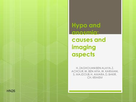 Hypo and anosmia: causes and imaging aspects