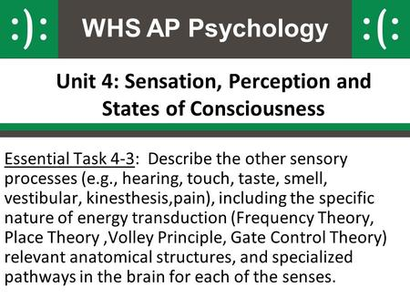WHS AP Psychology Unit 4: Sensation, Perception and States of Consciousness Essential Task 4-3: Describe the other sensory processes (e.g., hearing, touch,
