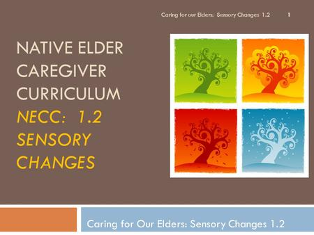 NATIVE ELDER CAREGIVER CURRICULUM NECC: 1.2 SENSORY CHANGES Caring for Our Elders: Sensory Changes 1.2 1 Caring for our Elders: Sensory Changes 1.2.