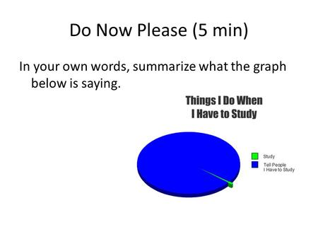 Do Now Please (5 min) In your own words, summarize what the graph below is saying.