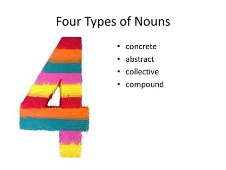 Four Types of Nouns concrete abstract collective compound.