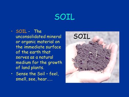 SOIL SOIL - The unconsolidated mineral or organic material on the immediate surface of the earth that serves as a natural medium for the growth of land.