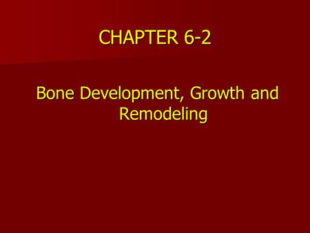 Bone Development, Growth and Remodeling