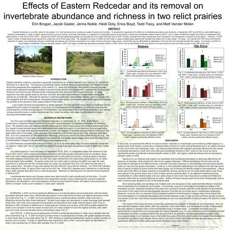 Effects of Eastern Redcedar and its removal on invertebrate abundance and richness in two relict prairies Erin Brogan, Jacob Gaster, Jenna Noble, Heidi.