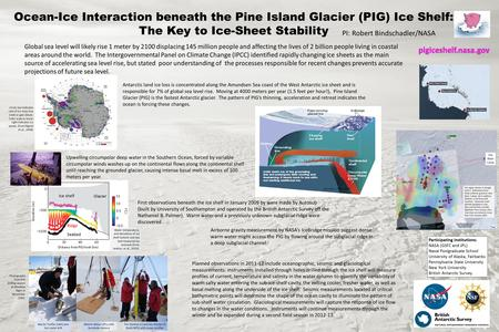 Ocean-Ice Interaction beneath the Pine Island Glacier (PIG) Ice Shelf: The Key to Ice-Sheet Stability Global sea level will likely rise 1 meter by 2100.
