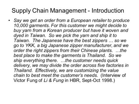 Supply Chain Management - Introduction