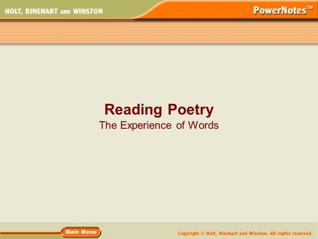 Reading Poetry The Experience of Words. What Is Poetry? Poetry is a type of rhythmic, compressed language that uses figures of speech and imagery to appeal.