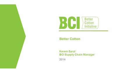 Better Cotton Kerem Saral BCI Supply Chain Manager 2014.