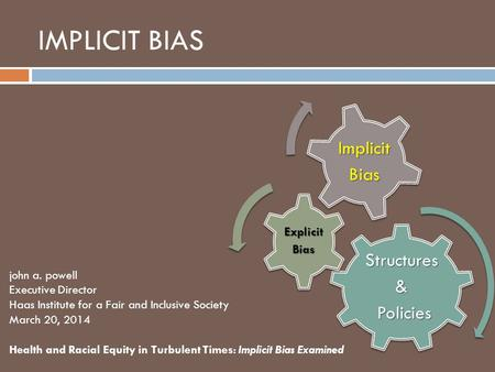 IMPLICIT BIASStructures& Policies Policies ExplicitBias ImplicitBias john a. powell Executive Director Haas Institute for a Fair and Inclusive Society.