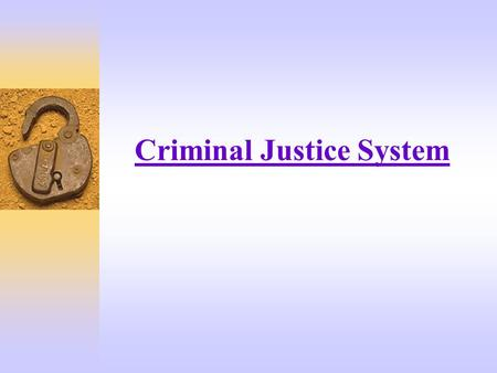"Criminal Justice System. What Is The ""Criminal Justice System""  An elaborate apparatus that exists to enforce our criminal laws.  It is the official."