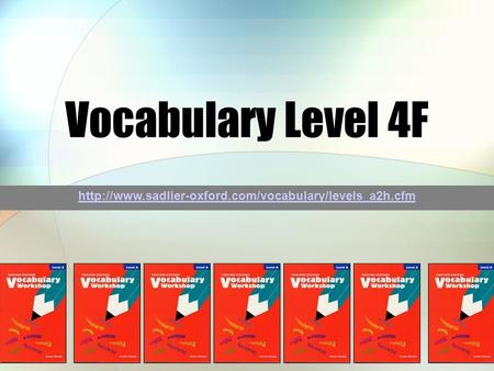 Vocabulary Level 4F